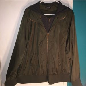 Torrid Green Blazer with Attached Hoodie